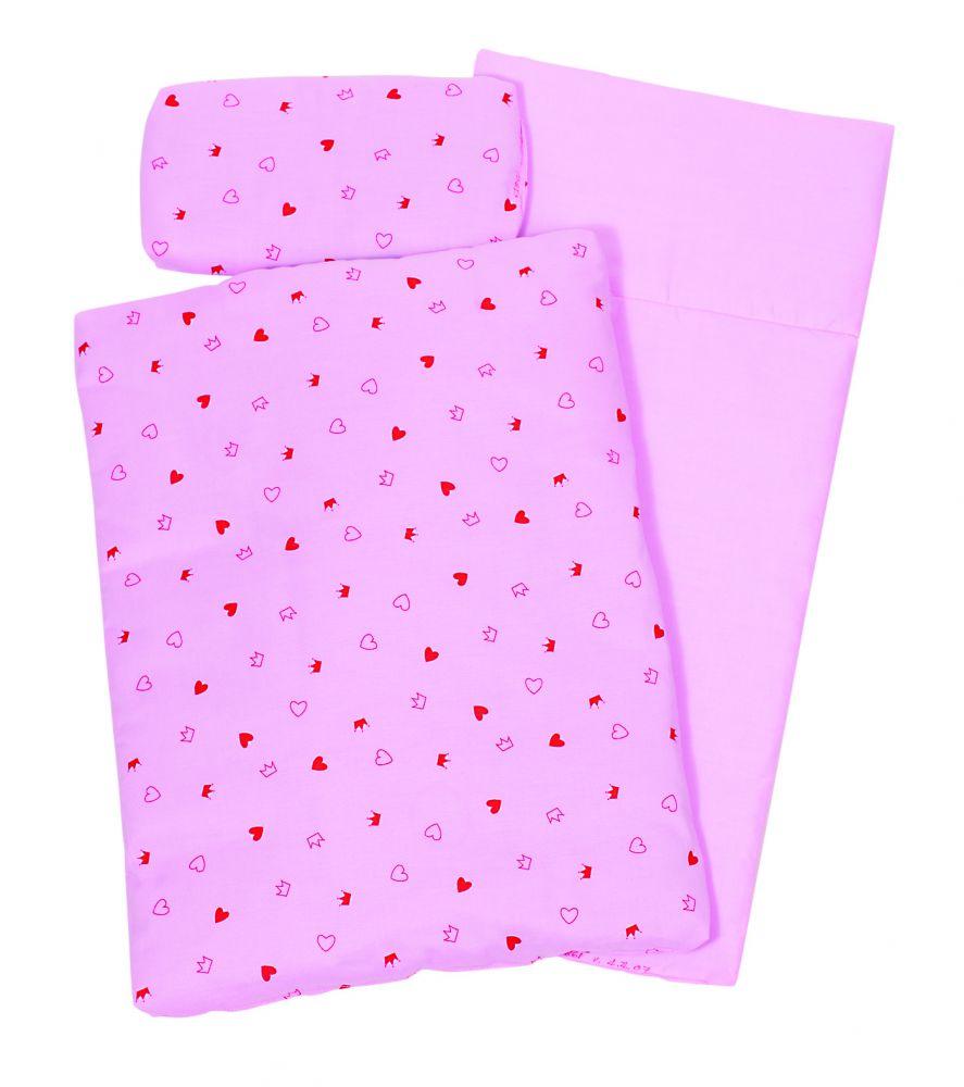 Ágynemű fa játék babaágyhoz, rózsaszín