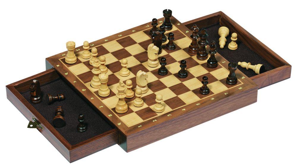 Mágneses fa sakk készlet, fiókos