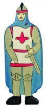 Fa játék figurák - lovag kék köpönyeggel